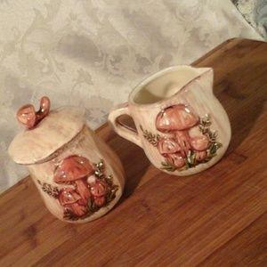 Vintage Mushroom Cream and Sugar Set '72
